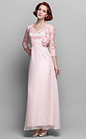 Sheath/Column V-neck Ankle-length Chiffon And Lace Mother of the Bride Dress (699344)