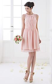 A-line Bateau Knee-length Chiffon Bridesmaid Dress (710810)
