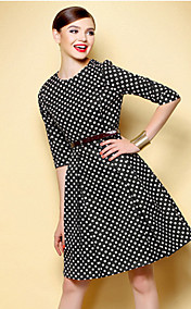 TS Vintage Polka Dot Swing Dress(Belt Inc.)
