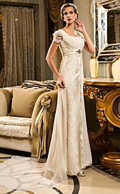 Sheath/Column Queen Anne Court Train Chiffon And Lace Wedding Dress (467025)
