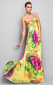 Sheath/Column One Shoulder Floor-length Print Silk Evening Dress