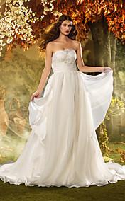 Sheath/Column Strapless Floor-length Tulle Wedding Dress (618808)