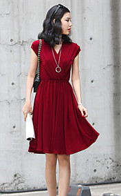 Women's V Neck Slim Waist Dress