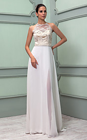 Sheath/Column High Neck Floor-length Chiffon And Lace Wedding Dress (699420)
