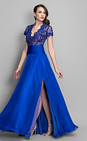 Sheath/Column Queen Anne Floor-length Chiffon Evening Dress