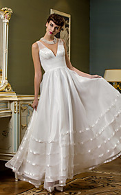 A-line V-neck Ankle-length Organza And Tulle Wedding Dress (710768)
