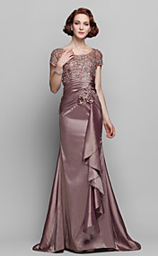 Sheath/Column Scoop Sweep/Brush Train Taffeta And Lace Mother of the Bride Dress (699358)