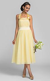 A-line Tea-length Chiffon And Stretch Satin Bridesmaid Dress (663642)