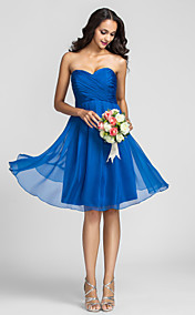 A-line Sweetheart Knee-length Chiffon Bridesmaid Dress (722115)