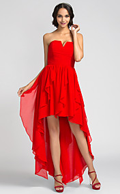 A-line Strapless Asymmetrical Chiffon Bridesmaid Dress (710803)