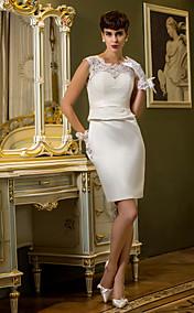 Sheath/Column Queen Anne Knee-length Satin And Lace Wedding Dress (710755)