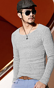 Men'S Round Collar Base Slim Knit Wear