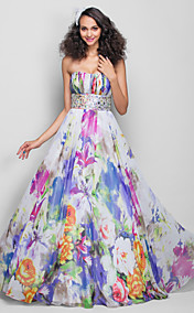 A-line/Princess Strapless Floor-length Print Chiffon Evening/Prom Dress