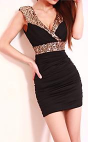 Women's sexy sequin v neck mini dress