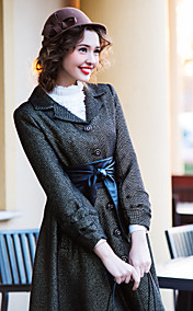 TS VINTAGE Chic Sleeve Tailored Collar Swing Tweed Coat