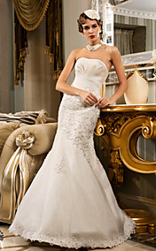 Trumpet/Mermaid Strapless Floor-length Satin Wedding Dress (466955)