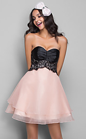 A-line Sweetheart Stretch Satin Organza Cocktail/Prom Dress (612431)