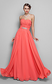 A-line/Princess Sweetheart Floor-length Chiffon Grace Evening Dress