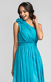 A-line One Shoulder Knee-length Chiffon Bridesmaid Dress (710805)