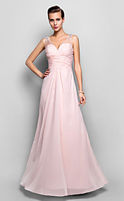 Sheath/Column V-neck Floor-length Chiffon And Lace Evening Dress (682734)