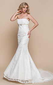 LTBridal Trumpet/Mermaid Strapless Court Train Lace Wedding Dress(937264)