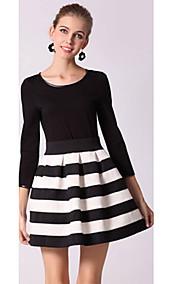 Slim Waist Black And White Striped Women Long-Sleeved Dress