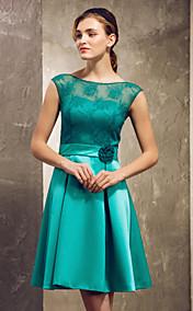 A-line Princess Bateau Short/Mini Lace Satin Bridesmaid Dress
