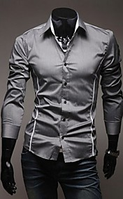 Men'S Individual Edge Slim Casual Long Sleeve Shirt