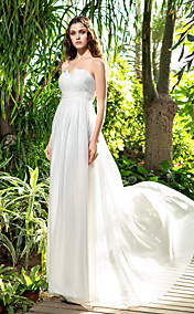 Sheath/Column Strapless Floor-length Chiffon Wedding Dress (710775)