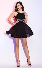A-line Scoop Short/Mini Chiffon Cocktail Dress (759915)