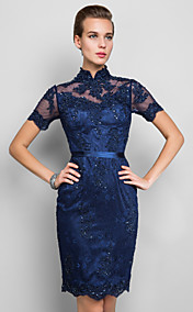 Sheath/Column High Neck Knee-length Lace Cocktail Dress (635919)