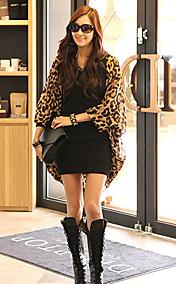 Women's Leopard Batwing Sleeve Loose Chiffon Coat