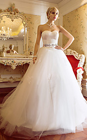 A-line Ball Gown Sweetheart Sweep/Brush Train Tulle And Satin Wedding Dress (604633)