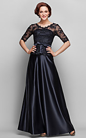A-line QW-neck Floor-length Satin And Lace Mother of Bride Dress (682755)