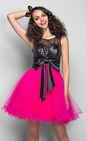 A-line Princess Scoop Short/Mini Tulle And Sequined Cocktail/Prom Dress With Ruching (759817)
