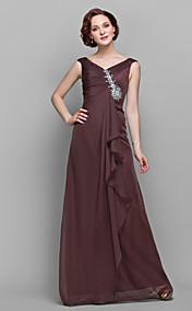 A-line V-neck Floor-length Chiffon Mother of the Bride Dress (722133)