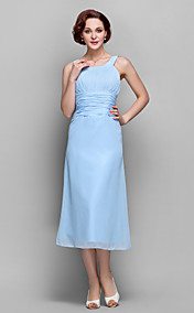 Sheath/Column Scoop  Tea-length Chiffon Mother of Bride Dress (699347)