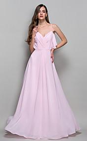 A-line/Princess Straps Floor-length Chiffon Evening Dress