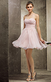 A-line Sweetheart Short/Mini Chiffon Bridesmaid Dress