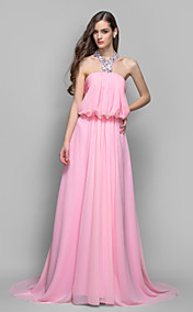 A-line/Princess Halter Sweep/Brush Train Chiffon Evening Dress