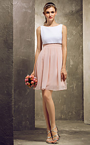 A-line Scoop Short/Mini Chiffon Bridesmaid Dress (808899)