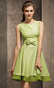 A-line Scoop Short/Mini Taffeta Bridesmaid Dress (808905)