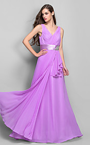 Sheath/Column V-neck Floor-length Chiffon And Stretch Satin Evening Dress (493620)