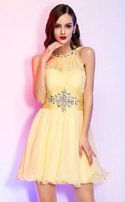 A-line Princess High Neck Short/Mini Chiffon Cocktail Dress (759815)