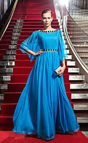 Sheath/Column Scoop Floor-length Chiffon Evening Dress inspired by TEA FALCO
