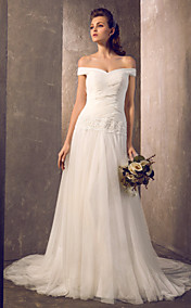 Sheath/Column Off-the-shoulder Sweep/Brush Train Tulle Wedding Dress