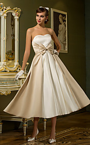 A-line Princess Sweetheart Tea-length Satin Wedding Dress (710749)