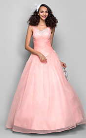 Ball Gown Straps Floor-length Organza Evening/Prom Dress (682737)