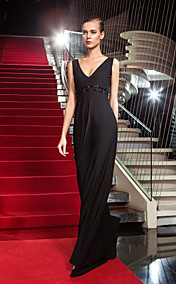 Sheath/Column V-neck Sweep/Brush Train Jersey Evening Dress inspired by Gina Rodriguez at the Emmys