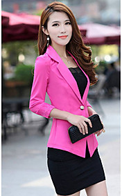Women's Fashion  Slim Blazer Candy Color Three Quarter Sleeve Suit One Button Thin Coat
